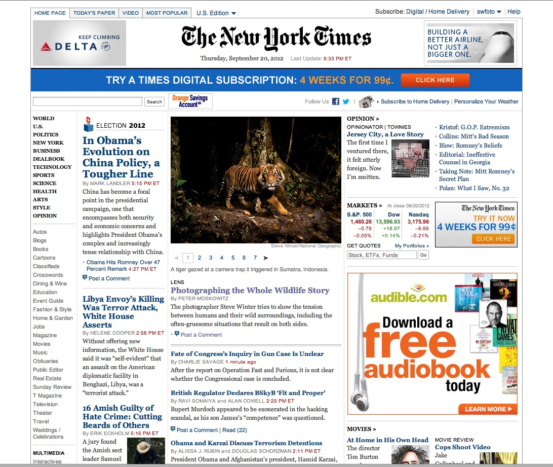 NY Times homepage Tigers copy